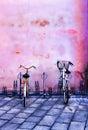 Bike rack downtown Bologna, Italy. Royalty Free Stock Photo