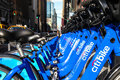 Bike rental in new york city november blue citi bikes lined up near madison square garden at th avenue manhattan on november the Stock Photos