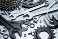 Bike repairing spare parts tools Royalty Free Stock Image