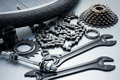 Bike repairing spare parts and tools Royalty Free Stock Photos