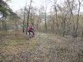 Bike ride through uncharted terrain. the dark countryside Royalty Free Stock Photo