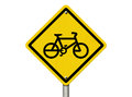 Bike Route Warning Sign Royalty Free Stock Photo