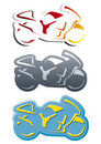 Bike shape logotype in three versions Stock Images