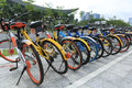 Bike-sharing in china Royalty Free Stock Photo