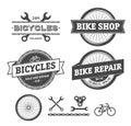 Bike shop and repair emblems Royalty Free Stock Photo