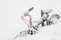Bike in the snow buried detail Royalty Free Stock Image