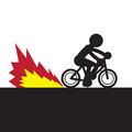 Bike speeding flame rider silhouette with Royalty Free Stock Photos