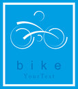 Bike symbol bicycle on a blue background with modern lines Stock Photo