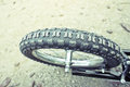Bike tyre close up of a with shallow depth of field Royalty Free Stock Photo