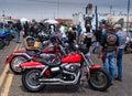 Bike week harleys bikers enjoy looking at the bikes during Stock Photo
