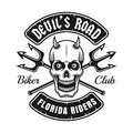 Biker club emblem with devil skull and tridents Royalty Free Stock Photo