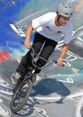 Biker during contest at summer urban festival Royalty Free Stock Photo