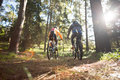 Biker couple riding mountain bike in the forest Royalty Free Stock Photo