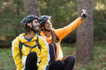 Biker couple taking selfie from mobile phone Royalty Free Stock Photo