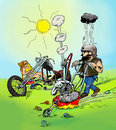 Biker cutting grass lawnmower equipped motorcycle engine Royalty Free Stock Photo