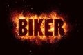 Biker fire text flames explosion explode festival banner Royalty Free Stock Photo