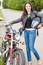 Biker girl on a motorcycle Royalty Free Stock Images