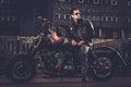 Biker And His Bobber Style Mot...