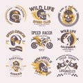 Biker logo vector rider on motorcycle or bike and speed motorcyclist racer on logotype motor emblem illustration racing