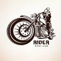 Biker, motorcycle grunge vector silhouette Royalty Free Stock Photo