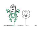 Biker on the road hand drawn cartoon characters Royalty Free Stock Image