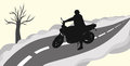 Biker on the road silhouette of a vector illustration Royalty Free Stock Photography