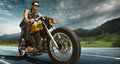 Biker seat on the motorcycle. Royalty Free Stock Photo