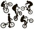 Biker silhouettes set Royalty Free Stock Photo