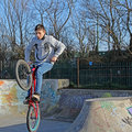 Biker at skate park Royalty Free Stock Photography