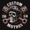 Biker skull with crossed pistons t-shirt design color version Royalty Free Stock Photo