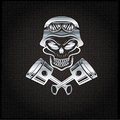 biker theme design template with pistons and skull in hel Royalty Free Stock Photo
