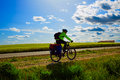 Biker on The Way of Saint James biking in Palencia Royalty Free Stock Photo