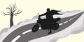 Biker with wings silhouette of a on the road Stock Photo