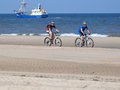 Bikers on the beach of zandvoort two in netherlands Royalty Free Stock Photos
