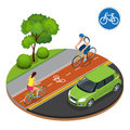 Bikers in city. Cycling on bike path. Bicycle road sign and bike riders. Flat 3d vector isometric illustration. People Royalty Free Stock Photo