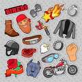 Bikers Elements with Chopper and Motorcycle for Prints, Stickers, Patches, Badges