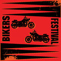 Bikers festival label vintage color illustration Stock Images