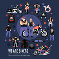 Bikers Icons Set Royalty Free Stock Photo