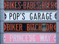 Bikers license plates Stock Photo