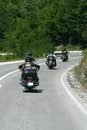 Bikers motorcycles chopper ride to the highway Royalty Free Stock Image