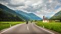 Bikers on mountainous highway