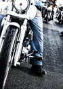 Bikers riding motorbikes Royalty Free Stock Photos