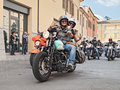 Bikers waves riding harley davidson happy does the typical greeting at motorcycle rally sangiovese tour by ravenna chapter on Royalty Free Stock Photos