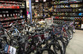 Bikes bike bicycles in sport store Royalty Free Stock Photos