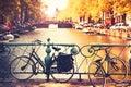 Bikes on the bridge in Amsterdam, Netherlands. Royalty Free Stock Photo