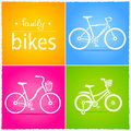 Bikes illustration of three silhouettes of bicycles Royalty Free Stock Photography