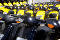 Bikes motorbikes motorcycles rows in a renting Royalty Free Stock Photography