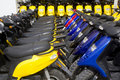 Bikes motorbikes motorcycles rows in a renting Stock Photo