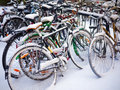 Bikes parked in winter Royalty Free Stock Photo