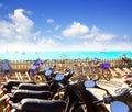 Bikes parking at Formentera beach Royalty Free Stock Photo